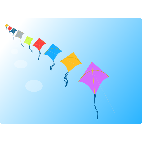 Row of kites vector clip art