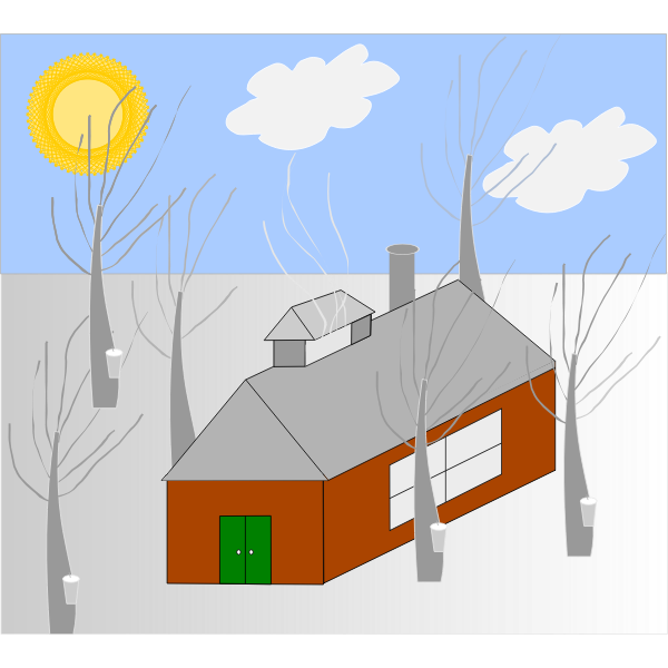 Vector image of house in the woods