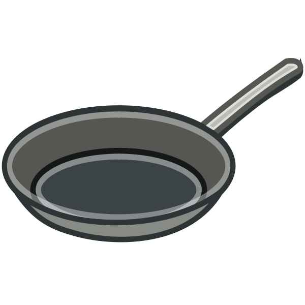 Metal frying pan vector clip art