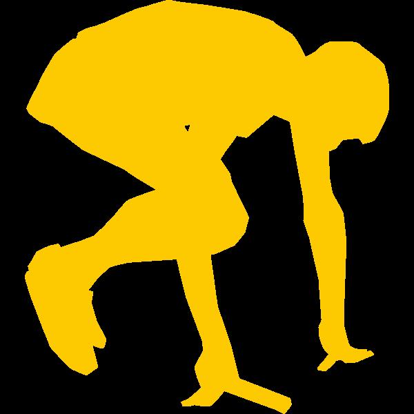 Silhouette vector graphics of runner start