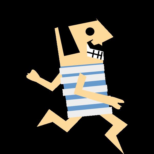 Cartoon vector drawing of a retro runner