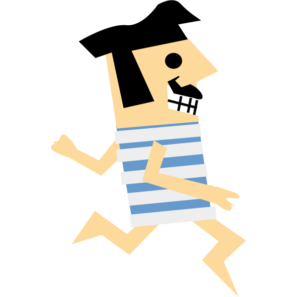 Cartoon vector drawing of a retro runner