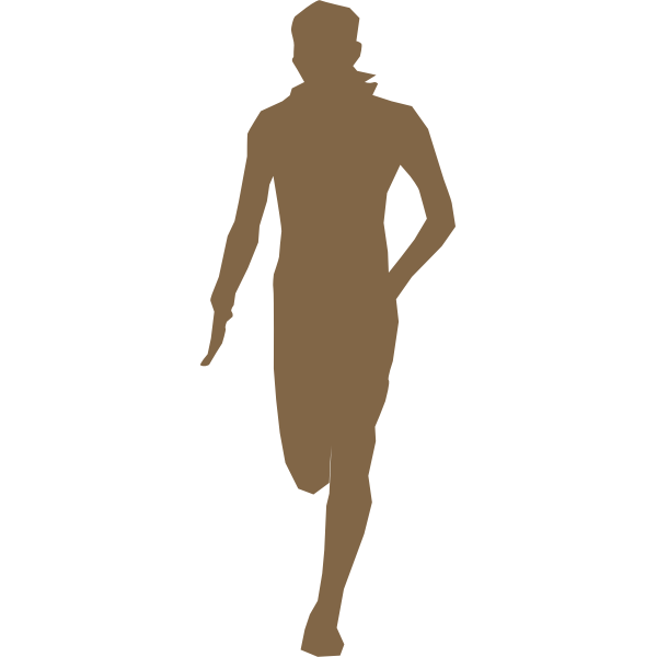 Silhouette vector clip art of boy at training