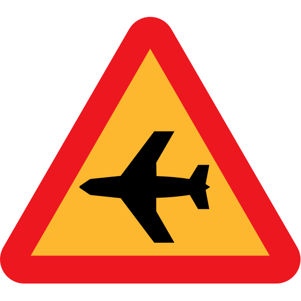 Low-flying aircraft road sign vector graphics