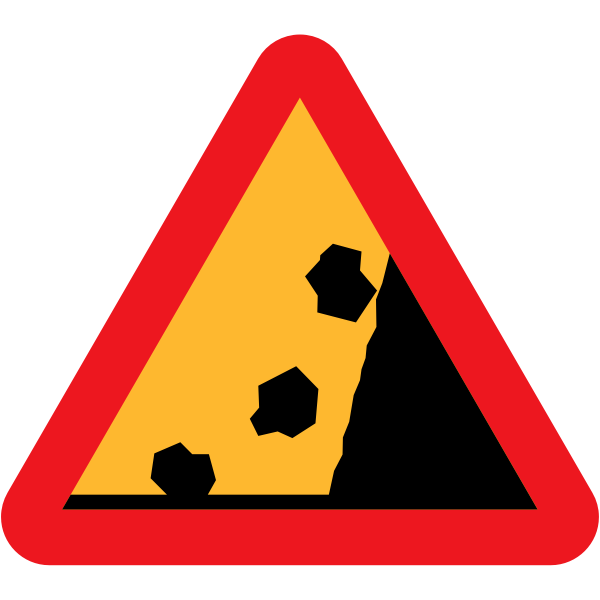 Falling rocks from the right hand side traffic sign vector illustration