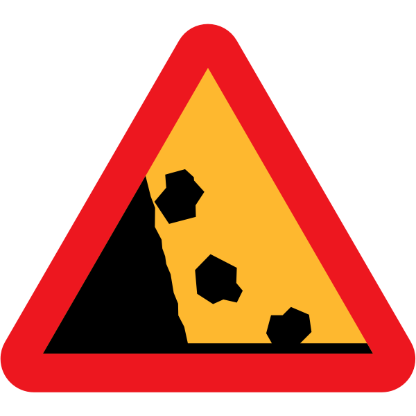 Falling rocks from the left hand side traffic sign vector drawing