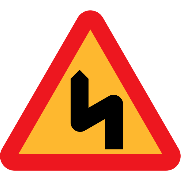 First left double bend traffic sign vector drawing