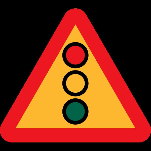Traffic lights ahead sign vector image