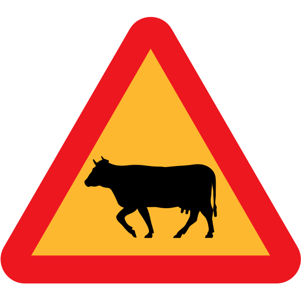 Cows on the road road sign vector illustration