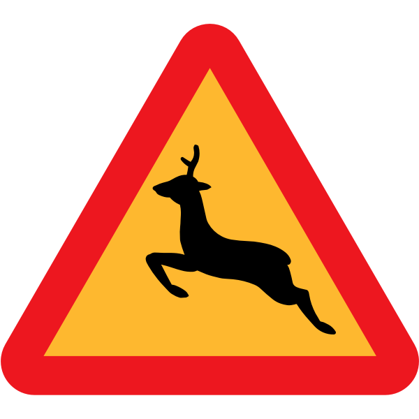 Warning for deer traffic sign vector drawing