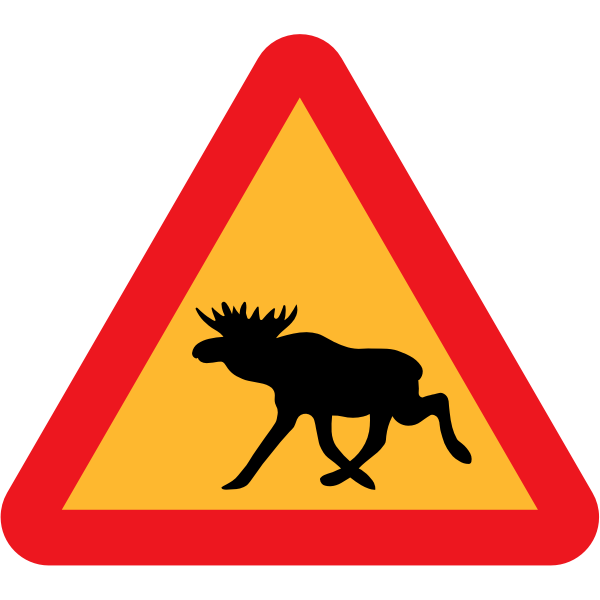 Moose on road traffic sign vector graphics
