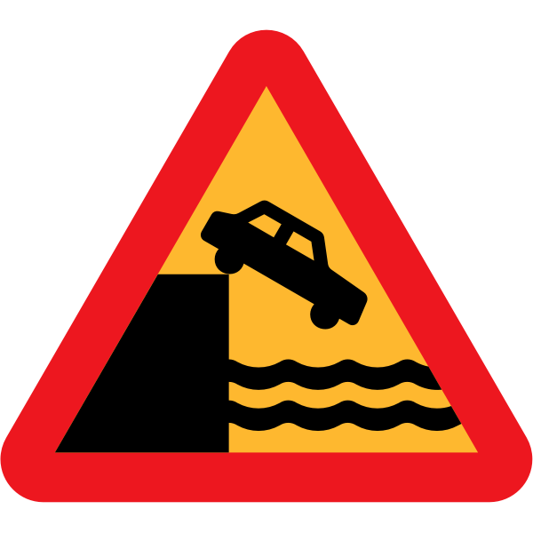 Don't drive over a cliff warning traffic sign vector image