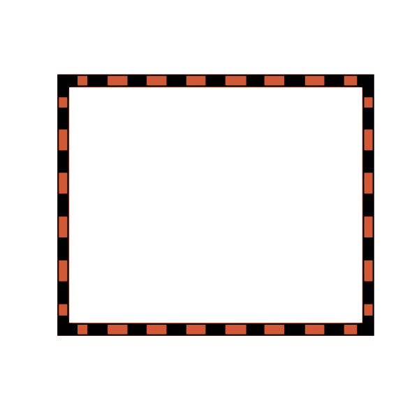 Vector clip art of black and orange rectangular border