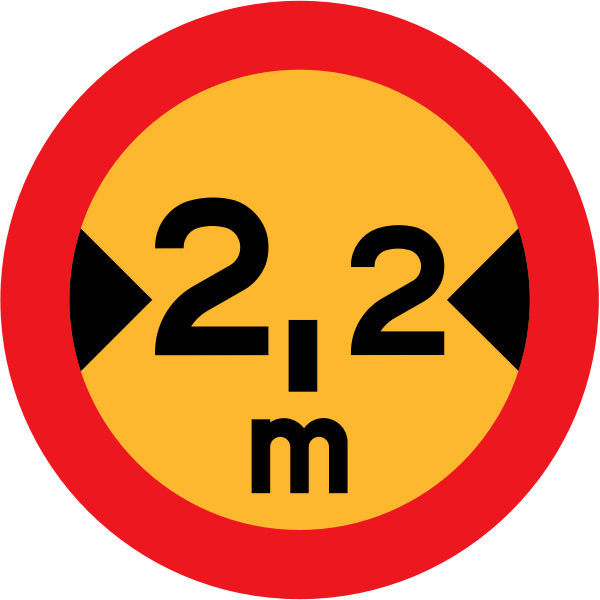 No vehicles with width over 2.2 meters road vector
