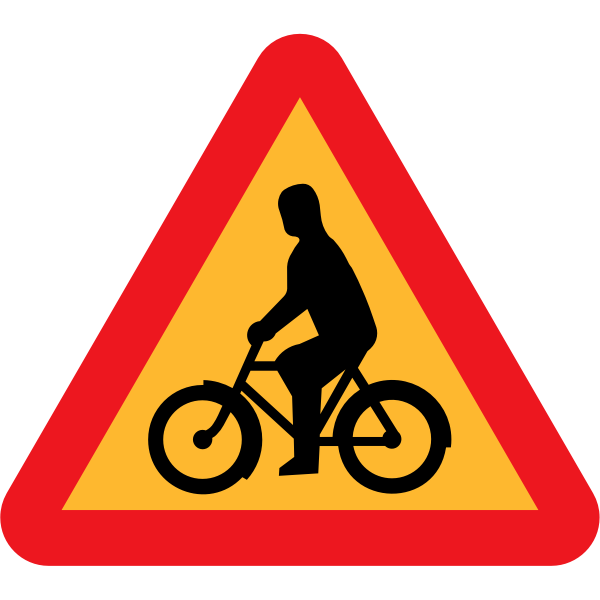 Vector image of bike rider traffic sign warning