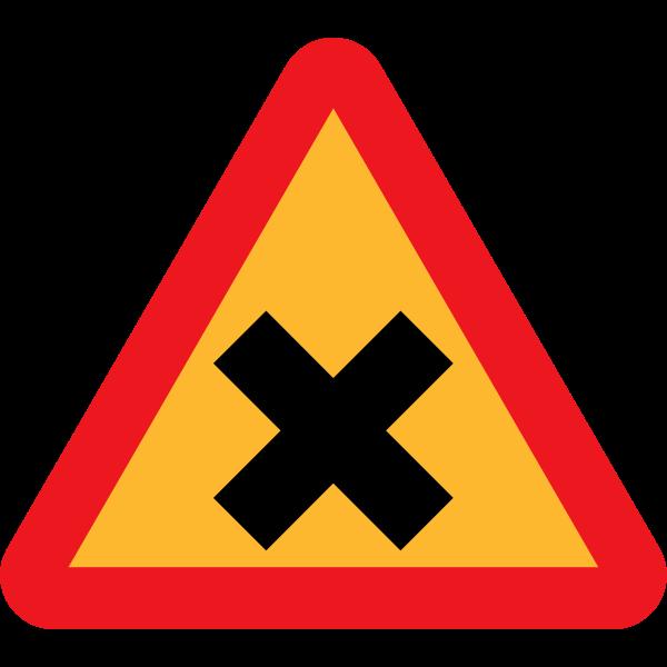 Cross road sign vector drawing
