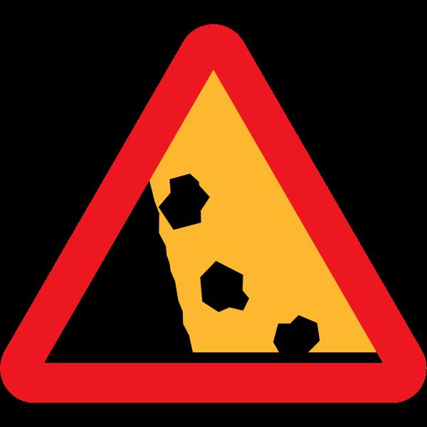 Falling Rocks Vector Road Sign