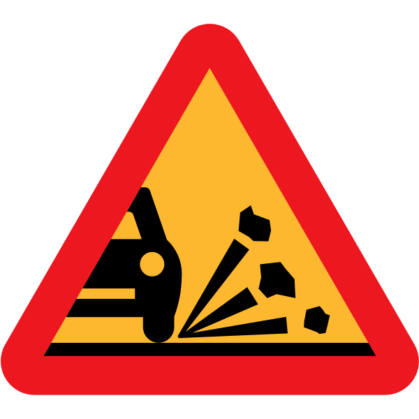 Loose stones on the road vector sign
