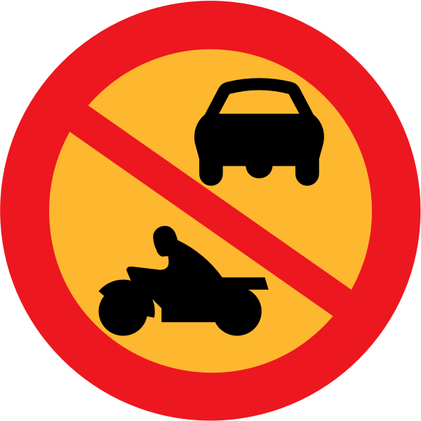 No Motorbikes or cars vector sign