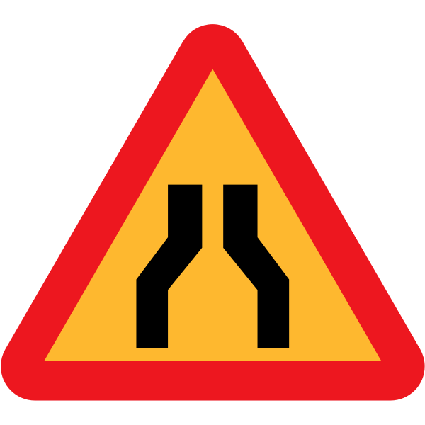 Road narrows on both sides vector sign