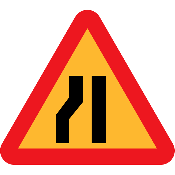 Road narrows on left vector sign