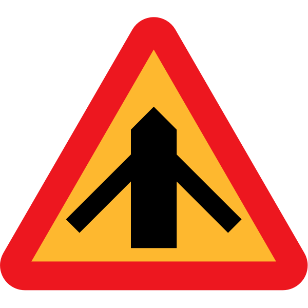 Traffic merging from left and right sign vector
