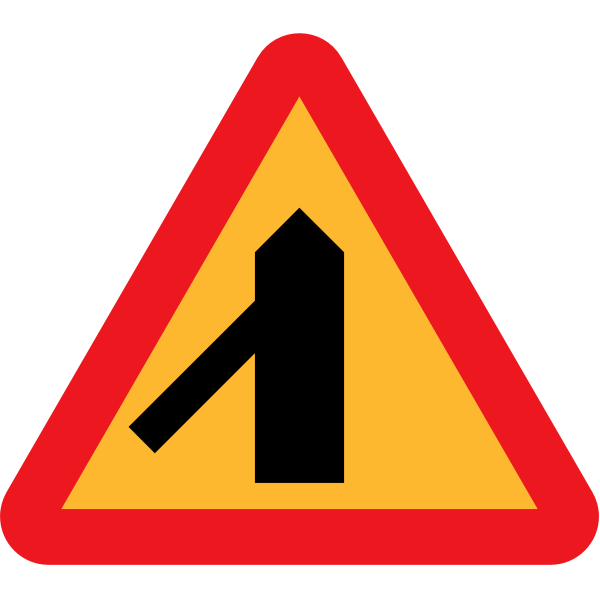 Traffic merging from left vector sign