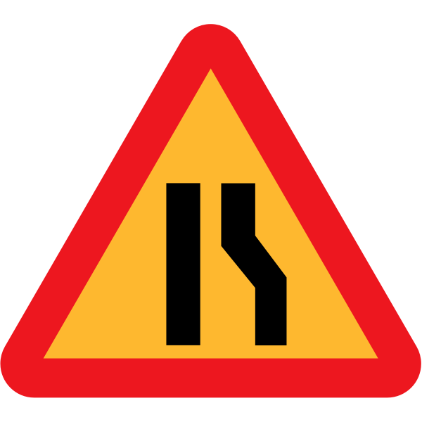 Road narrows on right sign vector