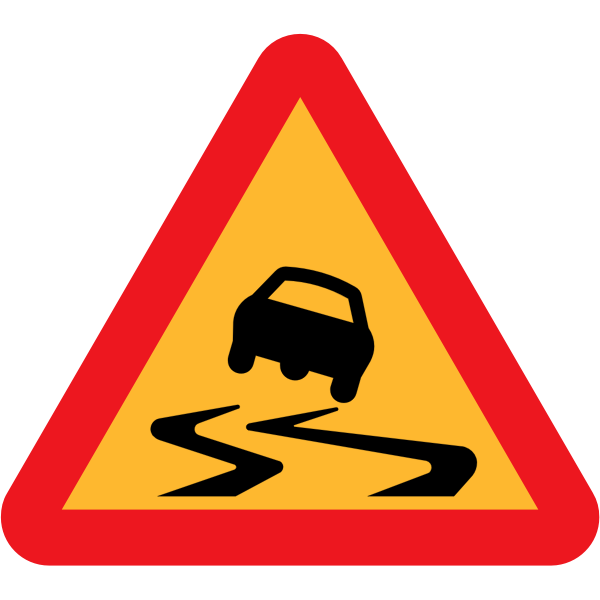 Slippery Road Vector Sign