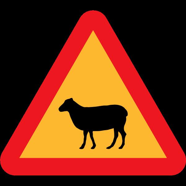 Vector image of sheep traffic sign warning