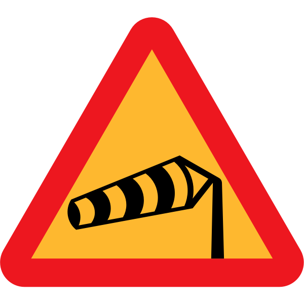 Side winds vector road sign