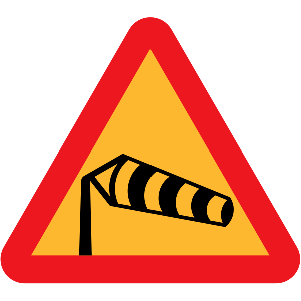 Side winds vector traffic sign