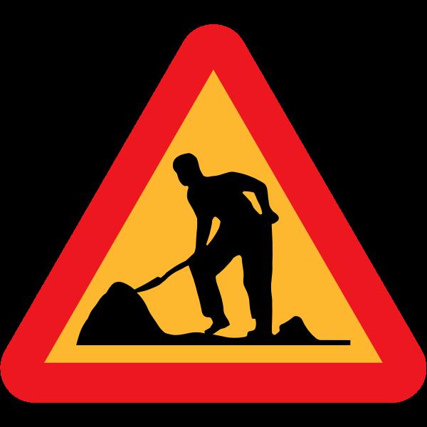 Road work ahead vector sign