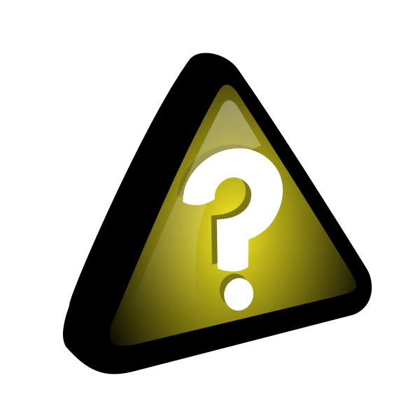 Vector drawing of question mark in yellow triangle