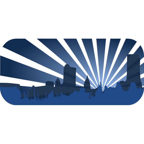 Blue city scene vector