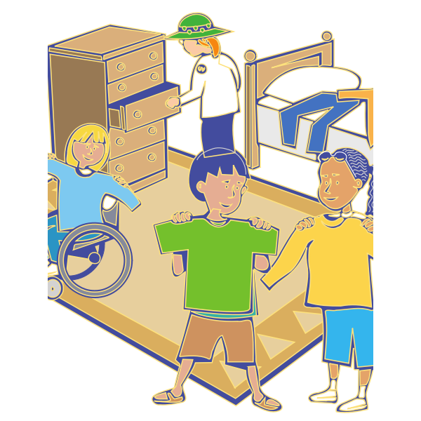 Getting dressed scene vector drawing