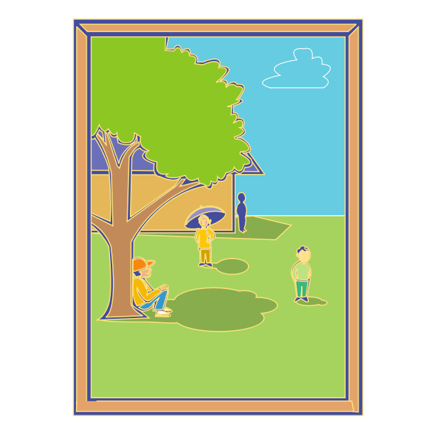 Vector clip art of kids playing around the school