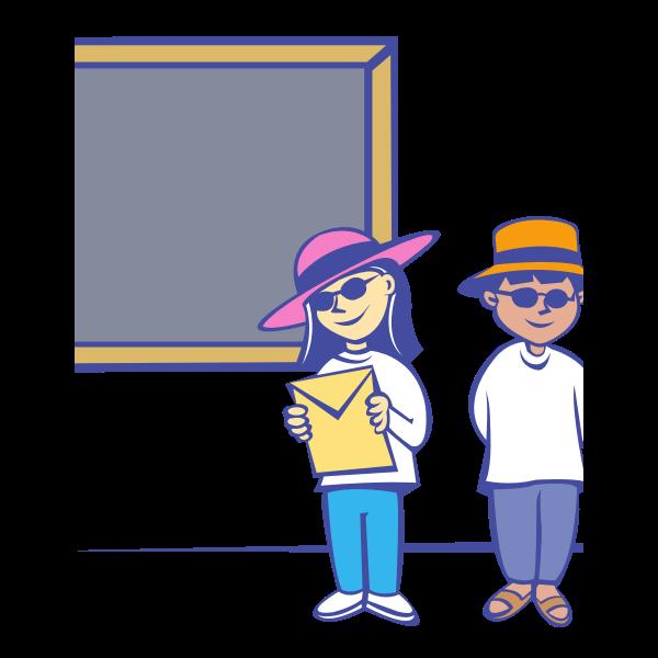 Vector clip art of kids in front of a blackboard