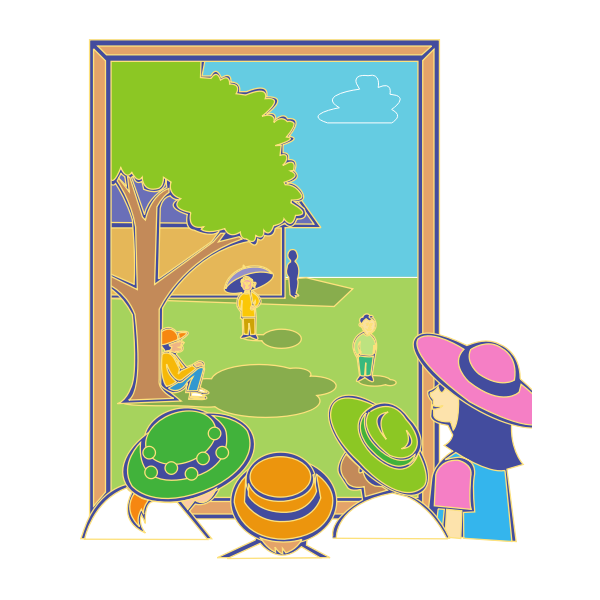 Vector image of kids looking out window