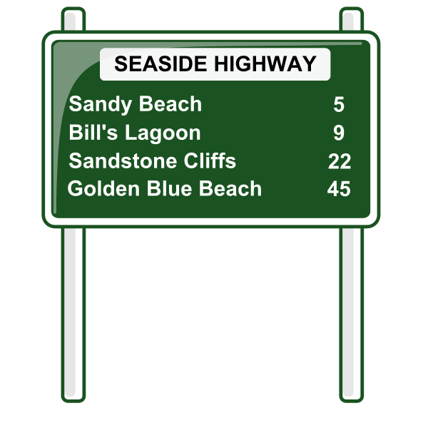 Road distances sign vector
