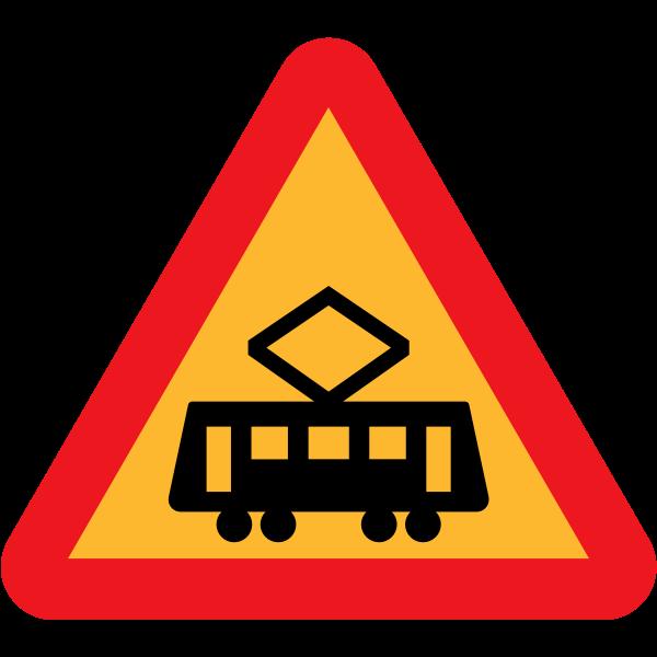 Tram crossing ahead vector of traffic sign