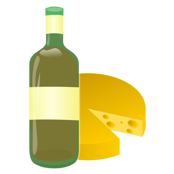 Vector image of wine and cheese