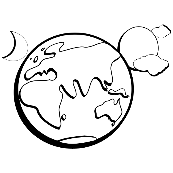 Vector Graphics Of Abstract Earth Drawing With Surrounding Planets Free Svg