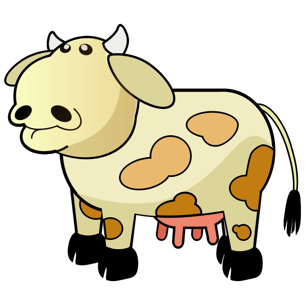 Cartoon cow with brown spots vector illustration