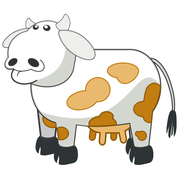 Vector drawing of gray cartoon cow with brown spots