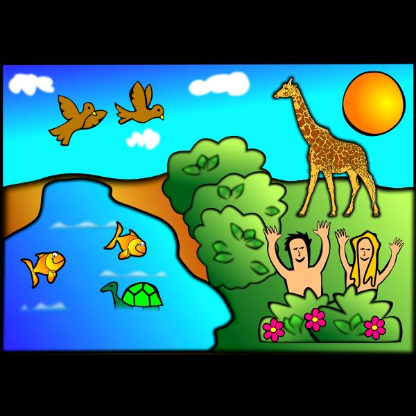 Creation scene vector image 1