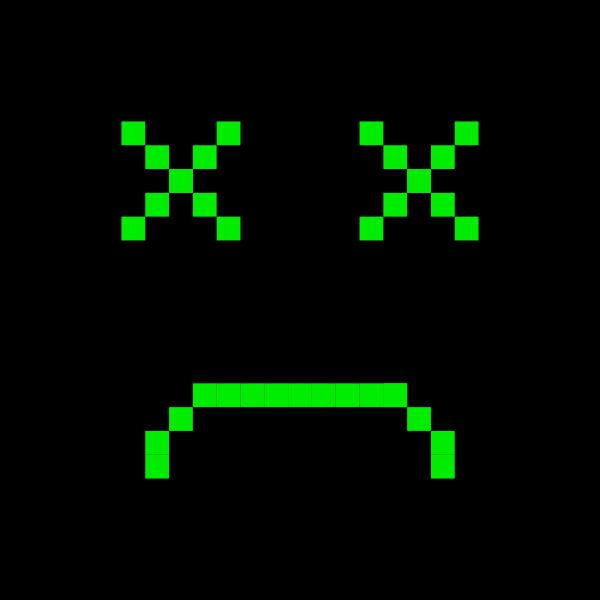 Sad computer monitor vector drawing