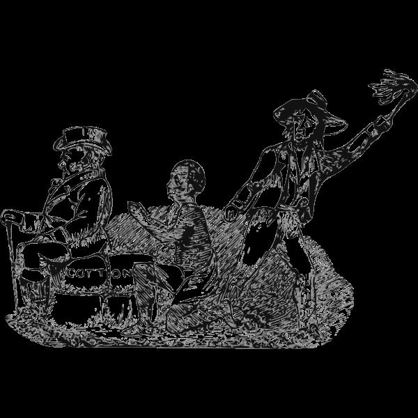 Vector illustration of slave worker