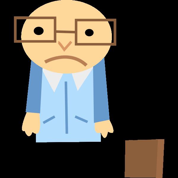 Vector image of blue sad businessman