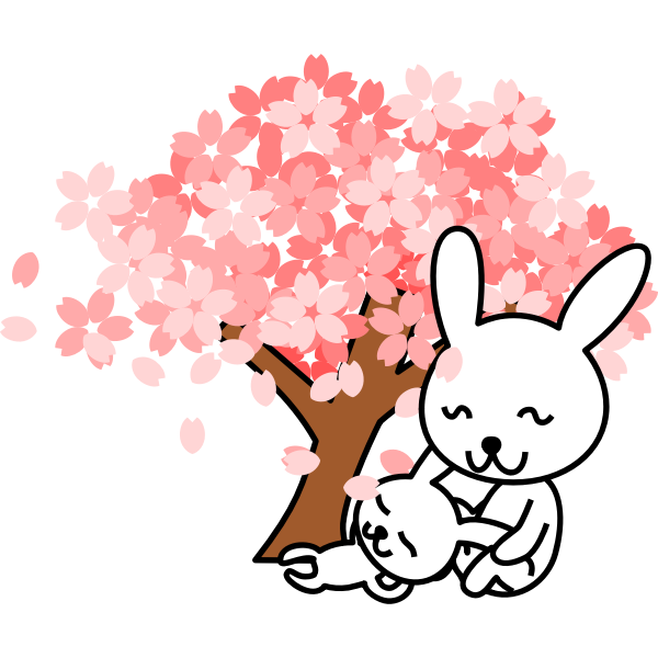 Vector illustration of cherry blossoms rabbit